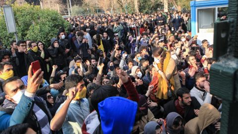 Students protest at the University of Tehran on December 30.