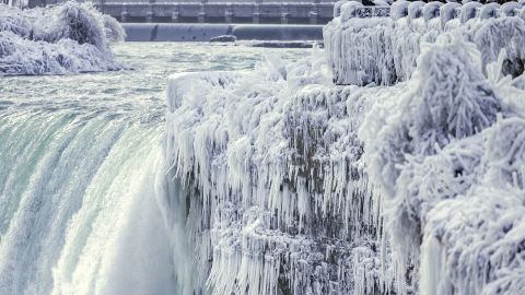 The frozen brink of the Horseshoe Falls in Niagara Falls, Ontario, is seen in this photo from December 29, 2017.