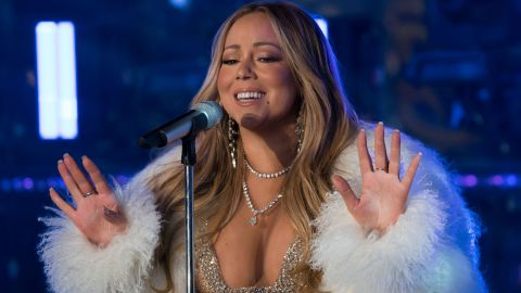 Mariah Carey performs during New Year's Eve celebrations in Times Square on December 31, 2017, in New York. (Photo credit: DON EMMERT/AFP/Getty Images)