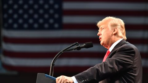 US President Donald Trump speaks during a rally at the Pensacola Bay Center on December 8, 2017 in Pensacola, Florida.  / AFP PHOTO / Nicholas Kamm        (Photo credit should read NICHOLAS KAMM/AFP/Getty Images)
