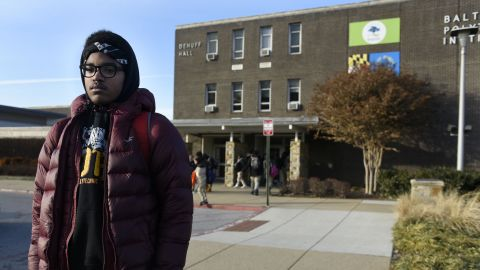 Matthew Cunningham, 18, a senior at Baltimore Polytechnic Institute, talks about the cold temperatures.