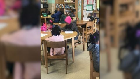 Baltimore elementary school teacher Aaron Maybin says this photo shows children -- some wearing coats -- in his cold classroom at Matthew A. Henson Elementary School on Wednesday.