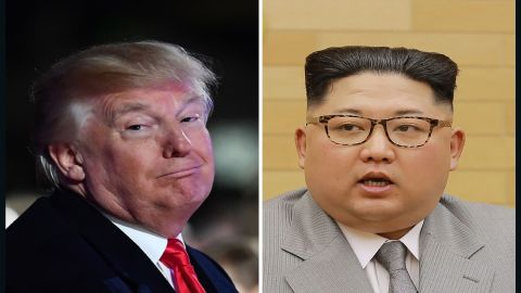 """(FILES) This combo shows a file photo (L) taken on November 30, 2017 of US President Donald Trump smiling during the 95th annual National Christmas Tree Lighting ceremony in Washington, DC; and a file picture (R) released by North Korea's official Korean Central News Agency (KCNA) on January 1, 2018 showing North Korean leader Kim Jong-Un delivering a New Year's speech at an undisclosed location. US President Donald Trump warned Kim Jong-Un on January 2, 2018 he has a """"much bigger"""" nuclear button than the North Korean leader, as Washington dismissed the prospect of high-level talks between Pyongyang and Seoul. / AFP PHOTO / KCNA VIA KNS / KCNA via KNS AND Nicholas KAMM / South Korea OUT / REPUBLIC OF KOREA OUT   ---EDITORS NOTE--- RESTRICTED TO EDITORIAL USE - MANDATORY CREDIT """"AFP PHOTO/KCNA VIA KNS"""" - NO MARKETING NO ADVERTISING CAMPAIGNS - DISTRIBUTED AS A SERVICE TO CLIENTS THIS PICTURE WAS MADE AVAILABLE BY A THIRD PARTY. AFP CAN NOT INDEPENDENTLY VERIFY THE AUTHENTICITY, LOCATION, DATE AND CONTENT OF THIS IMAGE. THIS PHOTO IS DISTRIBUTED EXACTLY AS RECEIVED BY AFP.  / KCNA VIA KNS,NICHOLAS KAMM/AFP/Getty Images"""
