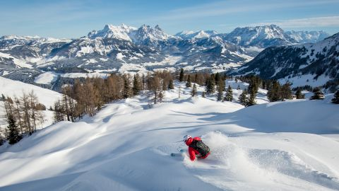 <strong>White playground: </strong>Kitzbuhel's skiing area is linked with that of Kirchberg. Together they offer 54 lifts and about 180 kilometers of skiing with endless backcountry opportunity.