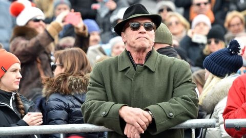 <strong>He's back: </strong>Celebrities and the jet-set turn out in force to see and be seen. Austrian native and Terminator star Arnold Schwarzenegger is a regular fixture at the Hahnenkamm finish.