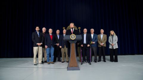 US President Donald Trump speaks during a retreat with Republican lawmakers and members of his Cabinet at Camp David in Thurmont, Maryland, January 6, 2018. / AFP PHOTO / SAUL LOEB        (Photo credit should read SAUL LOEB/AFP/Getty Images)