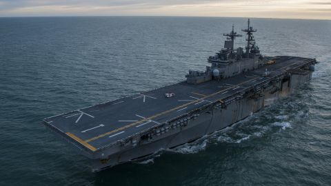 171210-N-BD308-0001 STRAIT OF MAGELLAN (Dec. 10, 2017) The amphibious assault ship USS Wasp (LHD 1) transits the Strait of Magellan. Wasp is transiting to Sasebo, Japan to conduct a turnover with the USS Bonhomme Richard (LHD 6) as the forward-deployed flagship of the amphibious forces in the U.S. 7th Fleet area of operations. (U.S. Navy photo by Mass Communication Specialist 3rd Class Levingston Lewis/Released)