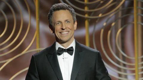 Seth Meyers landed laughs as host of the Golden Globe Awards.