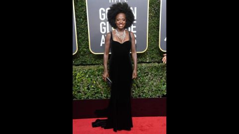 """Viola Davis attends the 75th annual Golden Globe Awards on Sunday, January 7. Many celebrities <a href=""""http://www.cnn.com/2018/01/05/entertainment/golden-globes-2018-black-dress-explainer/index.html"""" target=""""_blank"""">were wearing black</a> on the red carpet to raise awareness of gender and racial inequality."""