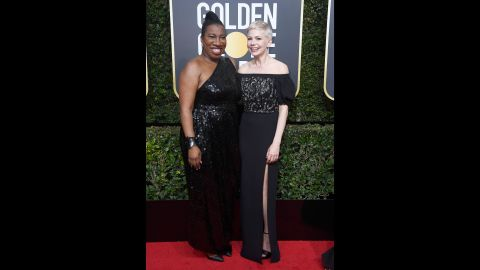 """Tarana Burke, left, and Michelle Williams. Burke is the founder of the <a href=""""http://www.cnn.com/2017/10/30/health/metoo-legacy/index.html"""" target=""""_blank"""">#MeToo movement.</a>"""
