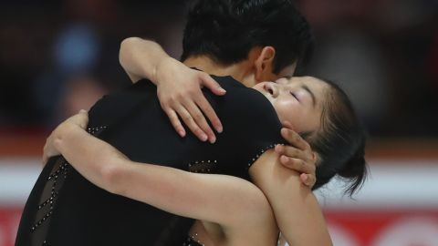 OBERSTDORF, GERMANY - SEPTEMBER 29:  Tae Ok Ryom and Ju Sik Kim of DPR Korea reacts after performing at the Pairs free skating during the 49. Nebelhorn Trophy 2017 at Eishalle Oberstdorf on September 29, 2017 in Oberstdorf, Germany.  (Photo by Alexander Hassenstein/Bongarts/Getty Images)