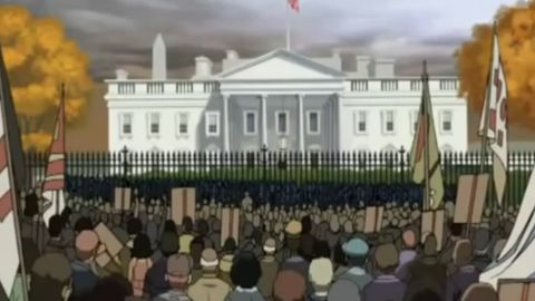 """An ending scene from """"Return of the King"""" showing protests in front of the White House from """"The Boondocks."""""""