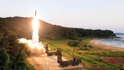 EAST COAST, SOUTH KOREA - SEPTEMBER 4: In this handout photo released by the South Korean Defense Ministry, South Korea's Hyunmu-2 ballistic missile is fired during an exercise aimed to counter North Korea's nuclear test on September 4, 2017 in East Coast, South Korea. South Korea's military said Monday it conducted a combined live-fire exercise in response to North Korea's sixth nuclear test a day earlier.  (Photo by South Korean Defense Ministry via Getty Images)