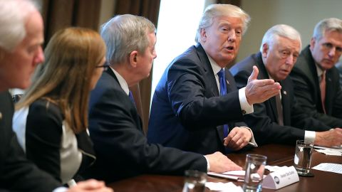 President Donald Trump presides over a meeting about immigration with Republican and Democrat members of Congress, including (L-R) Senate Majority Whip John Cornyn (R-TX), Rep. Martha McSally (R-AZ), Senate Minority Whip Richard Durbin (D-IL), House Minority Whip Steny Hoyer (D-MD) and House Majority Leader Kevin McCarthy (R-CA) in the Cabinet Room at the White House January 9, 2018.