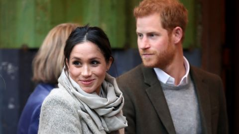 Prince Harry and his fiancee Meghan Markle visit a radio station in south London on January 9.