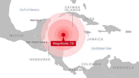 honduras earthquake map 1.09.2018