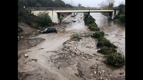Runoff water from a creek floods Highway 101 in Montecito on January 9, 2018. Flooding forced many heavily traveled roads to close.