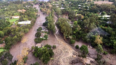 Montecito, Santa Barbara County, California, U.S. - Aerial view of mud and debris flow down Randall Road, where San Ysidro creek re-routed in Montecito. Areas that had been roadways, driveways, and homes, are now unrecognizable due to the large amount of mud and debris flows. At least 8 people died and thousands fled their homes in Southern California as a powerful rainstorm triggered flash floods and mudslides on slopes where a series of intense wildfires had burned off protective vegetation last month.