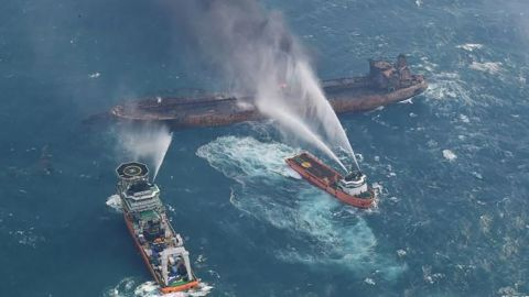 At 12:30, Japanese Coast Guard vessel KOSHIKI arrived the scene and built up the contact with Haixun 01.î Add one line: ìUntil 7 am on 10th, SANCHI is still on fire. And the intensity of the fire doesnít have too much change compared with last night.îìHaixun01 is managing other 13 vessels at the scene to search for missing crew around SANCHIî