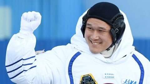 Member of the International Space Station (ISS) expedition 53/54, Norishige Kanai of the Japan Aerospace Exploration Agency (JAXA), waves during a send-off ceremony at the Russian-leased Baikonur Cosmodrome in Kazakhstan early on December 17, 2017. NASA astronaut Scott Tingle and crewmates Anton Shkaplerov of the Russian space agency Roscosmos and Norishege Kanai of the Japan Aerospace Exploration Agency were expected to lift off in the Soyuz MS-07 spacecraft from the Baikonur Cosmodrome. / AFP PHOTO / Kirill KUDRYAVTSEV        (Photo credit should read KIRILL KUDRYAVTSEV/AFP/Getty Images)