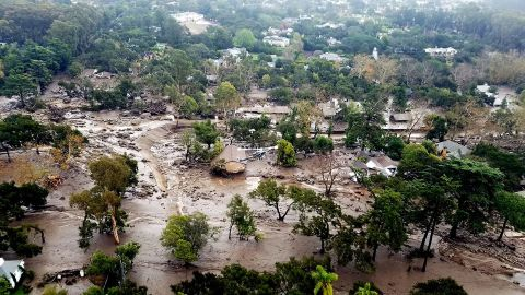 An aerial view of Montecito, California, shows mudflow and debris on Wednesday, January 10, 2018. Heavy rains unleashed deadly mudslides Tuesday that damaged or swept away dozens of homes in Southern California.