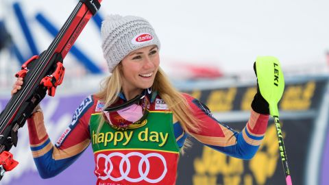 First-placed US' Mikaela Shiffrin celebrates on the finish area after crossing the finish line for the first run of the FIS World Cup Ladies Slalom race in Kranjska Gora, on January 7, 2018. / AFP PHOTO / Jure Makovec        (Photo credit should read JURE MAKOVEC/AFP/Getty Images)