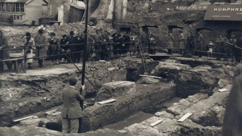 The Temple of Mithras was discovered by chance in 1954 during excavations of a World War II bombsite in the heart of the City. A number of Roman statues were recovered at the site, including the head of the god Mithras.