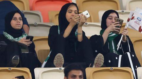 Saudi women at a football match in Jeddah on January 12.