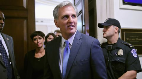 House Majority Leader Kevin McCarthy walks out of the caucus room in October 2015 on Capitol Hill. (Photo by Chip Somodevilla/Getty Images)