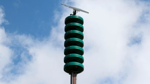 FILE - In this Nov. 29, 2017, file photo shows a Hawaii Civil Defense Warning Device in Honolulu, which sounds an alert siren during natural disasters. The Hawaii Emergency Management Agency report says nearly 93 percent of the state's 386 sirens worked properly. Twelve mistakenly played an ambulance siren. (AP Photo/Caleb Jones, File)