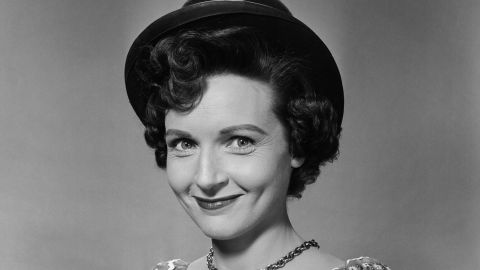 """White, seen here in 1954, was born in the Chicago suburb of Oak Park, Illinois, in 1922. She had roles on popular radio shows such as """"This Is Your FBI"""" and """"The Great Gildersleeve"""" before landing her first TV role as a co-host of """"Hollywood on Television"""" in 1949."""
