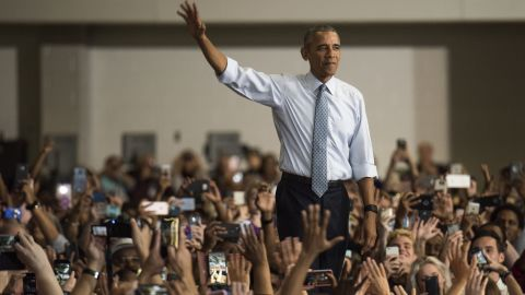 COLUMBUS, OH - NOVEMBER 01:  President Barack Obama waves to the crowd before as he takes the stage during a campaign event for Hillary Clinton at Capital University on November 1, 2016 in Columbus, Ohio. President Obama was stressing to the crowd the importance to vote with the presidential race so close, between Clinton and Trump, only one week before election day. (Photo by Ty Wright/Getty Images)