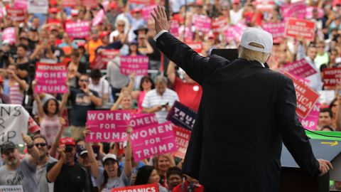 Republican presidential nominee Donald Trump holds a campaign rally at Bayfront Park Amphitheater November 2, 2016 in Miami, Florida.