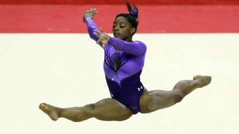 Simone Biles is competes in the floor exercise during Day 1 of the 2016 U.S. Women's Gymnastics Olympic Trials at SAP Center on July 8, 2016 in San Jose, California.