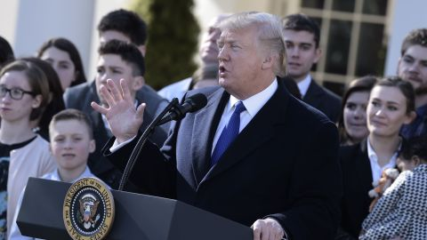 """US President Donald Trump speaks live via video link to the annual """"March for Life"""" participants and anti-abortion leaders on January 19, 2018 from the White House in Washington,DC.  The 45th edition of the rally, which describes itself as """"the world's largest pro-life event,"""" takes place on the National Mall -- with other scheduled speakers including House Speaker Paul Ryan.  / AFP PHOTO / Brendan SMIALOWSKI        (Photo credit should read BRENDAN SMIALOWSKI/AFP/Getty Images)"""