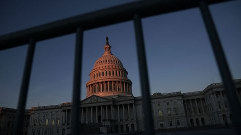 WASHINGTON, DC - JANUARY 20:  The U.S. Capitol is seen in the morning hours January 20, 2018 in Washington, DC. The U.S. government is being shut down after the Senate failed to pass a resolution to temporarily fund the government through February 16.  (Photo by Alex Wong/Getty Images)