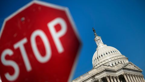 Capitol Hill is seen agains a blue sky while the government begins a shutdown January 20, 2018 in Washington, DC. / AFP PHOTO / Brendan Smialowski        (Photo credit should read BRENDAN SMIALOWSKI/AFP/Getty Images)