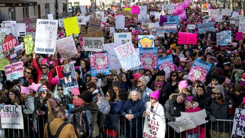 People lined up on Central Park West as they waited for the start of Saturday's Women's March.