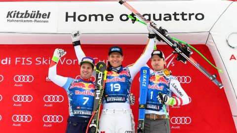 <strong>On the podium: </strong>Dressen won from Swiss Beat Feuz (left), who was the victor in Wengen last week, and 2014 champion Hannes Reichelt of Austria (right).