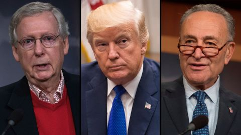 U.S. Senate Majority Leader Sen. Mitch McConnell (R-KY), President Donald Trump  and US Senate Minority Leader Chuck Schumer, Democrat of New York.