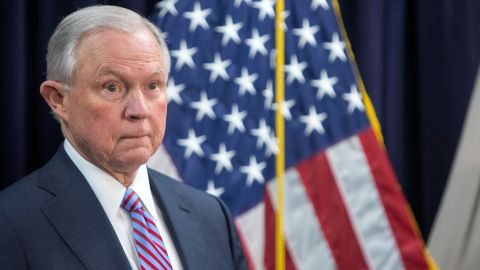 BALTIMORE, MD - DECEMBER 12:  Attorney General Jeff Sessions attends a news conference on immigration and efforts to contain violent gangs like MS-13 that have spread  from Latin America on December 12, 2017 in Baltimore, Maryland. Sessions blamed yesterday's attack in New York City on a failed U.S. immigration system and called on Congress to reform laws and loop holes that he says have allowed gangs to proliferate.  (Photo by Tasos Katopodis/Getty Images)