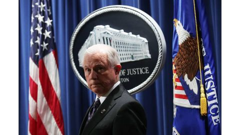 WASHINGTON, DC - NOVEMBER 29:  U.S. Attorney General Jeff Sessions listens during a news conference at the Justice Department November 29, 2017 in Washington, DC. Sessions announced the Justice Department will fund more than $12 million in grants to assist law enforcement agencies and to establish a new DEA field division in the Appalachian Mountain region to combat the opioid crisis.  (Photo by Alex Wong/Getty Images)
