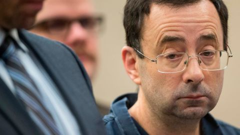 Dr. Larry Nassar appears in court during his sentencing hearing in Lansing, Michigan, January 16, 2018. The former Team USA gymnastics doctor is convicted of sexual abuse charges. More than 100 athletes have accused Nassar of abuse, including members of the gold medal-winning US Olympic team.  / AFP PHOTO / Geoff Robins        (Photo credit should read GEOFF ROBINS/AFP/Getty Images)