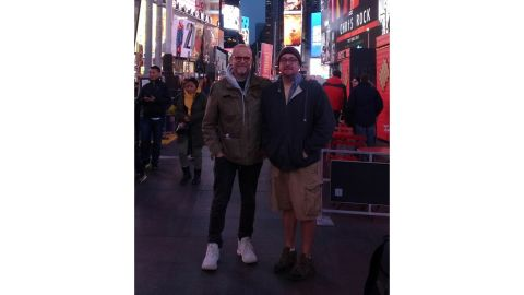 Robert Leibowitz (left) poses with his kidney donor Richie Sully in Times Square.