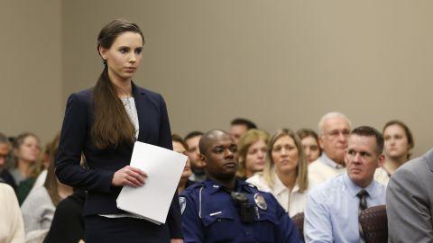 Rachael Denhollander gives a victim impact statement last week in Larry Nassar's sentencing.