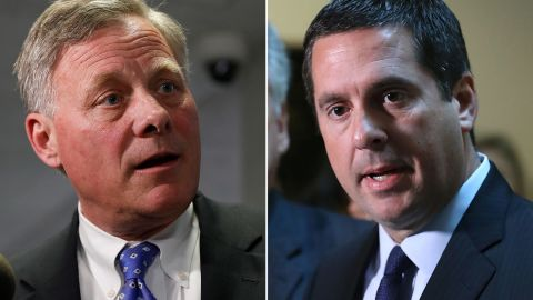 Senate Intelligence Committee Chairman Richard Burr, a North Carolina Republican, is pictured at left. House Intelligence Committee Chairman Devin Nunes, a California Republican, is pictured at right.