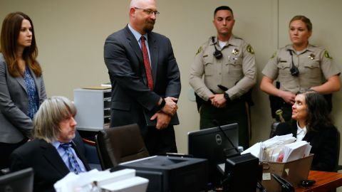 David and Louise Turpin, both seated, appear in court with their lawyers on January 24.