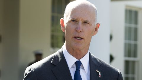 Florida Governor Rick Scott speaks to the media outside the West Wing of the White House in Washington, DC, on September 29, 2017, following a meeting with US President Donald Trump. / AFP PHOTO / SAUL LOEB        (Photo credit should read SAUL LOEB/AFP/Getty Images)