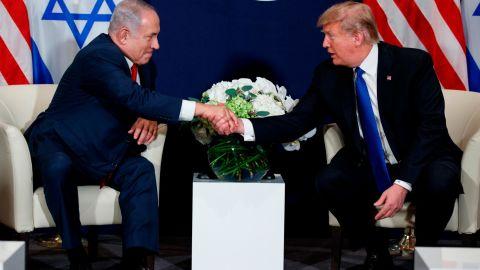 President Donald Trump meets with Israeli Prime Minister Benjamin Netanyahu at the World Economic Forum, in Davos, Switzerland, Thursday, January 25.