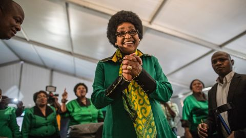 Madikizela-Mandela greets a crowd of supporters in Soweto for her 80th birthday in 2016.